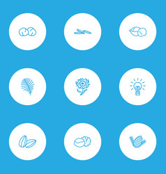 Nature icons line style set with chickpeas vector
