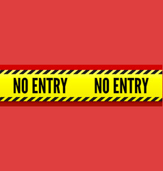 No entry yellow striped line on red background vector
