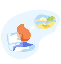 office worker dreaming on tropical vacation vector image