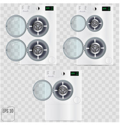 Open double washing machines isolated on vector