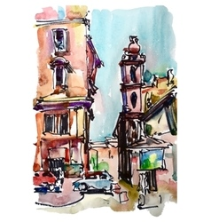 original freehand sketch watercolor painting of vector image