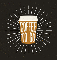 Paper coffee cup with text and grunge effect vector