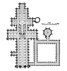 Plan of salisbury cathedral vintage engraving vector