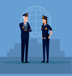 police officers cartoon vector image