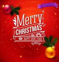 Red traditional Christmas card Typography design vector image