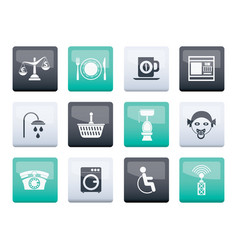 Roadside hotel and motel services icons vector