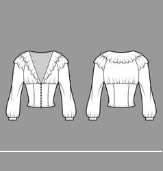ruffled cropped blouse technical fashion vector image