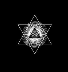 Sacred masonic symbol all seeing eye isolated vector