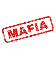 Scratched mafia rounded rectangle stamp vector