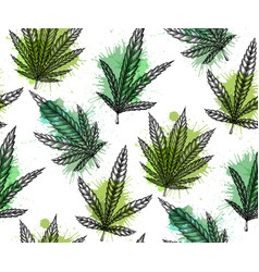 seamless pattern with leaves of marijuana with vector image