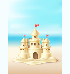 Seaside sand castle coastline coast shore vector