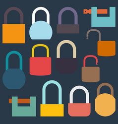 set of flat icon locks vector image