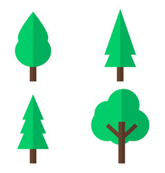 set of flat tree icon eps 8 vector image