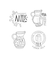 set of monochrome emblems for dairy vector image