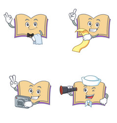 Set of open book character with waiter menu photo vector