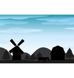 Silhouette farm vector image