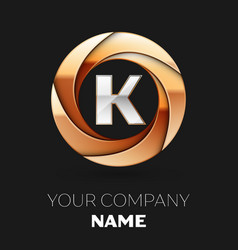 silver letter k logo in golden circle shape vector image