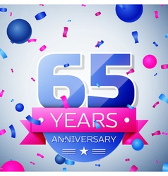 Sixty five years anniversary celebration on grey vector