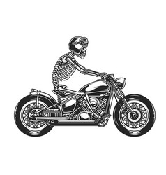 Skeleton biker driving motorcycle vector