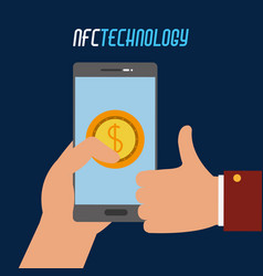Smartphone with coin transaction in the hand vector