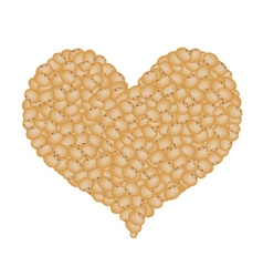 Soy beans forming in a heart shape vector