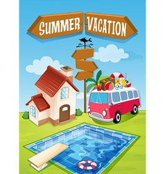 Summer vacation sign with van and pool vector