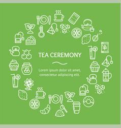 Tea ceremony round design template line icon vector
