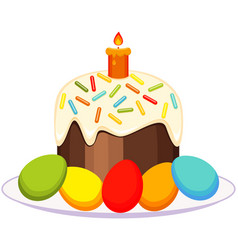 traditional easter cake candle eggs on plate icon vector image