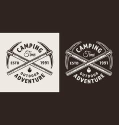 Vintage monochrome mountaineering label vector
