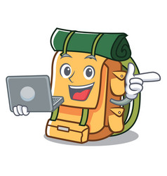 with laptop backpack character cartoon style vector image