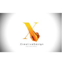 x orange letter design brush paint stroke gold vector image