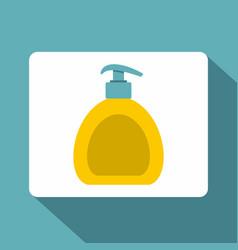 Yellow liquid soap bottle icon flat style vector