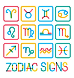 Zodiac signs Modern color icons vector image