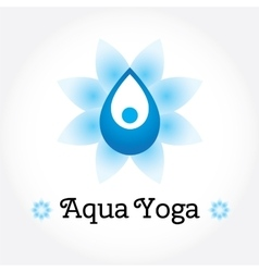 Aqua Yoga sign water drop with human silhouette vector image vector image
