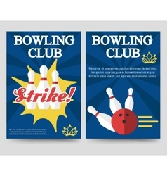Bowling brochure flyer template set vector image vector image