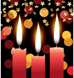 candles with lights and stars vector image vector image