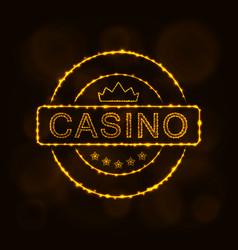 casino emblem silhouette of lights vector image