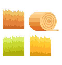 Green grass yellow stack of hay stump of tree vector