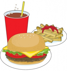 hamburger and fries vector image vector image