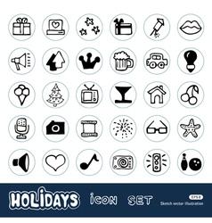 Holidays and celebration web icons set vector image vector image
