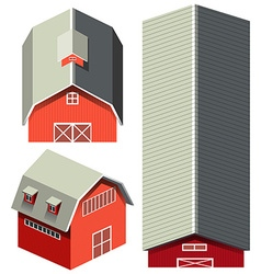 Red barn in different angles vector image vector image