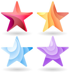 Set of Colorful stars stripped color vector image vector image