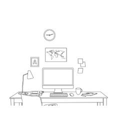 sketch modern office interior vector image