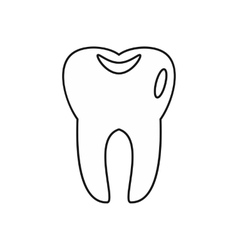 Tooth icon in outline style vector image