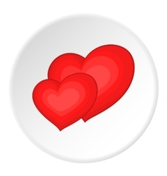 Two red hearts icon cartoon style vector image