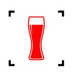 beer glass sign red icon inside black vector image