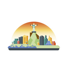 brazil icon in flat style vector image vector image