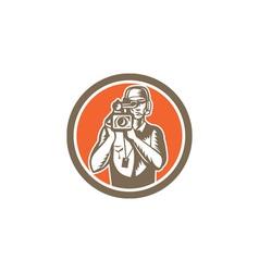 Cameraman Holding Movie Video Camera Circle vector image