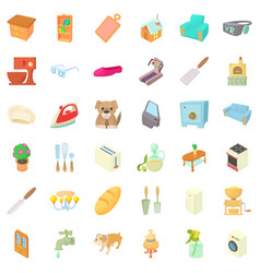 comfortable home icons set cartoon style vector image