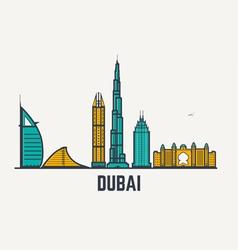 Dubai line view vector image